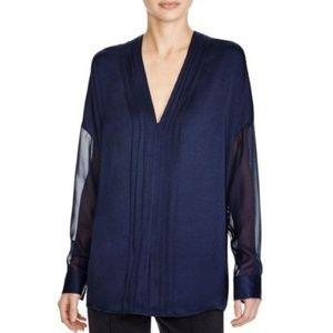 Vince Navy Blue Pleat Button Down Silk Blouse 12